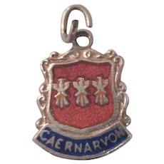 Sterling Wales Sterling Enamel Travel Shield Ornate Charm, Full British Hallmarks
