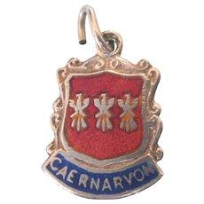 Caernarvon Wales Vintage Silver Enamel Travel Shield Ornate Charm