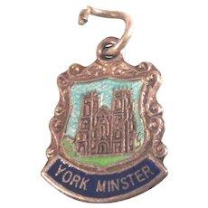 York Minster Cathedral, England Silver Enamel Travel Shield Ornate Charm