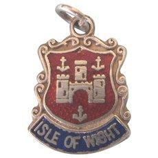 Vintage Isle of Wight Sterling Enamel Travel Shield Charm, Full British Hallmarks