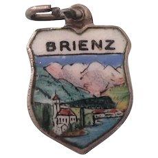 Brienz Switzerland 800 Silver and Enamel Travel Shield Charm