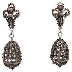 Gorgeous Sterling Etruscan Filigree Dangle Screw Back Vintage Earrings