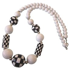 """Checkered White and Black Graduated Bead 28"""" Necklace"""