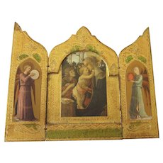 Gorgeous Large Florentine Triptych, Signed, Botticelli Madonna and Child