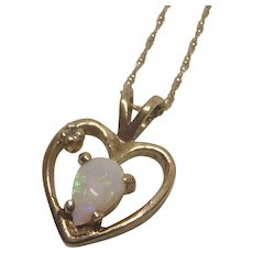 """Vintage 14K Opal and Diamond Accent Heart Pendant With 14K 18"""" Chain"""