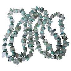 "Vintage Turquoise and Quartz 35"" Rope Gemstone Necklace"