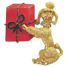 Whimsical Vintage Poodle With Gift Goldtone Enamel Brooch