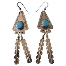 Signed Native American Sterling Turquoise Long Feather Dangle Pierced Earrings