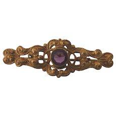Vintage Petite Ornate Goldtone and Amethyst Glass Brooch, Vintage Doll Jewelry