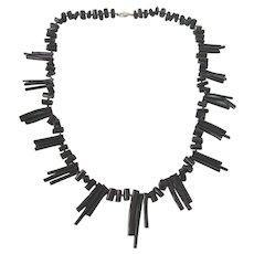 """Vintage Black Hand-Knotted Branch Coral 21"""" Necklace"""