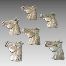 Handsome Set of 6 Silvertone Metal Horse Button Covers, Western Theme