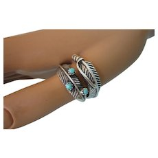 Sterling and Turquoise Feather Wrap Ring, Size 9