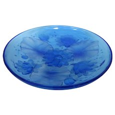 Fabulous Vintage Verlys Blue Glass Water Lilies Shallow Bowl or Charger - American Heisey Glass
