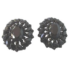 Gorgeous Huge Black Faceted Glass Western Germany Vintage Clip Earrings
