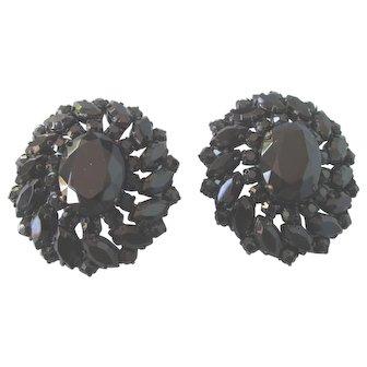 Gorgeous Huge Black Faceted Glass Western Germany Vintage Clip Earrings