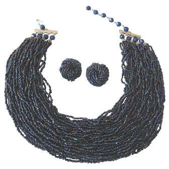 Fabulous Cobalt AB Bead 36 Strand Torsade Necklace with Clip Earring Set