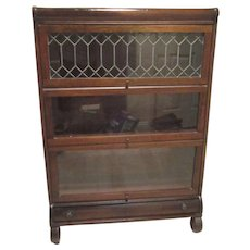 Antique Mahogany Barrister Stacking Bookcase, Leaded Glass, Drawer, Lundstrom Mfg. Co. New York