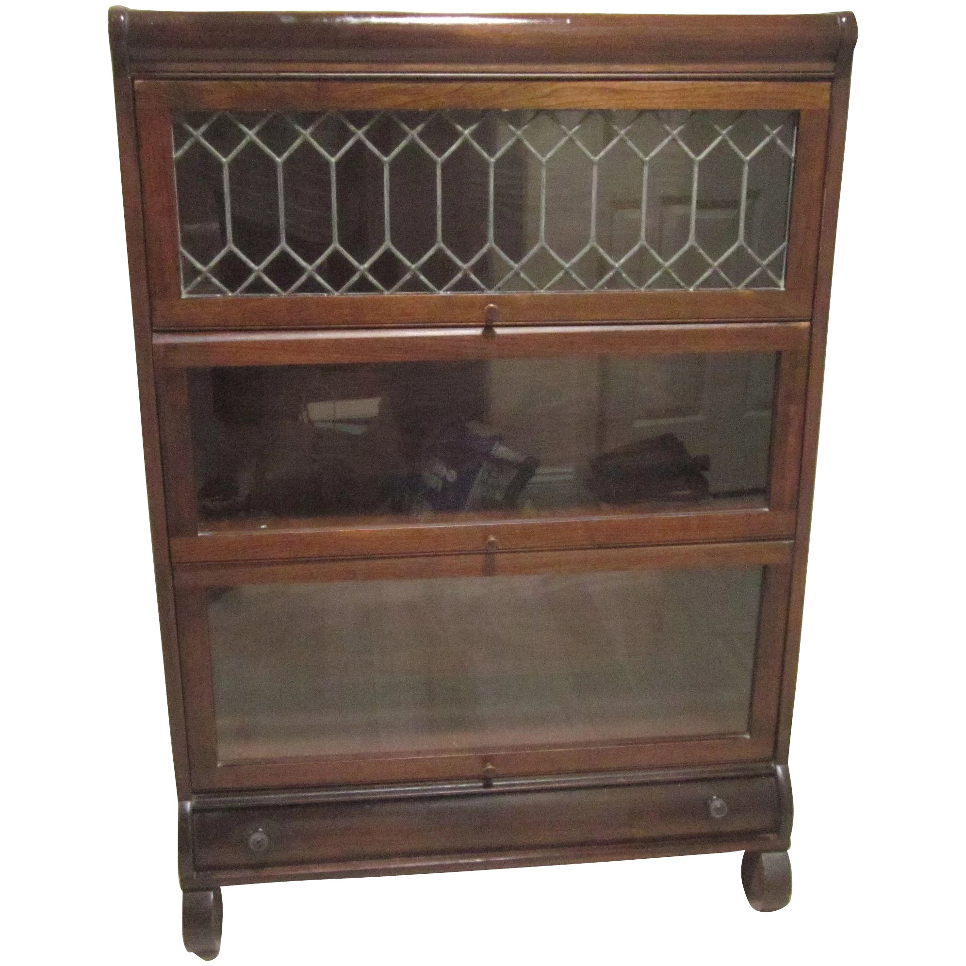 Antique Mahogany Barrister Stacking Bookcase Leaded Glass Drawer Lundstrom Mfg Co New York