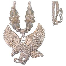 Dazzling Patriotic Rhinestine Pave Eagle and Crystal Bead Necklace