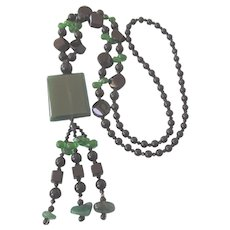 Vintage Art Deco Revival Green and Black Glass Long Flapper Necklace With Tassel