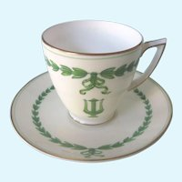 Vintage Minton Lyre Demitasse Cup and Saucer, White and Green