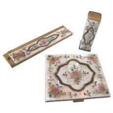 Exquisite Vintage Compact, Lipstick and Comb Set - Mother of Pearl With Applied Flowers and Enamel