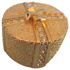 Fabulous Signed Dior Hat Box Brooch in Goldtone With Rhinestones