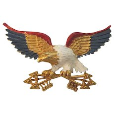 Patriotic Eagle Red, White and Blue Enamel Large Vintage Brooch