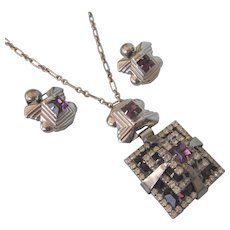 Spectacular Art Deco Rhinestone Geometric Necklace and Clip Earrings
