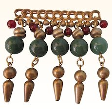 Wonderful Vintage Bold Gemstone Dangles Brooch