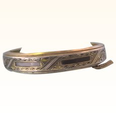 Darling Damascene Child's Hinged Bracelet, Inlaid Abalone