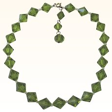 Heavenly Peridot Green Crystal Vintage Choker Necklace