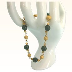"Gorgeous 18K Gold Plated Bead With Jade 8"" Bracelet"