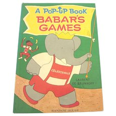 Scarce 1968 Babar's Games Pop-Up Book, Laurent De Brunhoff, Random House
