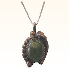 Wonderful Old Native American Navajo Sterling and Jade Pendant With Chain