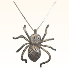 "Fabulous Vintage Sterling Spider Pendant Necklace, 18"" Chain"