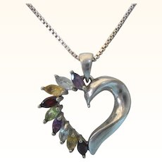 "Romantic Sterling Multi-Gemstone Open Heart Pendant Necklace, 18"" Sterling Chain"