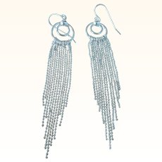 Flirty Vintage Sterling Long Fringe Pierced Dangle Earrings