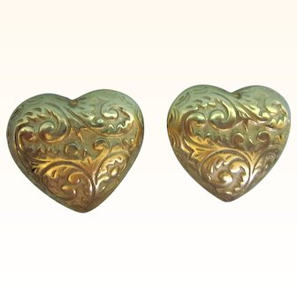 Signed Erwin Pearl Embossed Large Heart Clip Goldtone Earrings