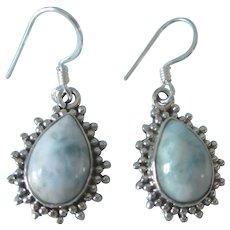 Heavenly Larimar and Sterling Silver Dangle Pierced Earrings