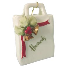 Vintage Harrods Bone China Shopping Bag Ornament With Holly & Bells