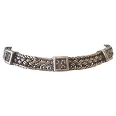 Stunning Signed Lois Hill Sterling Woven Toggle Bracelet - Retired