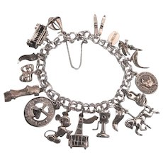 Loaded Sterling California Theme Charm Bracelet - Scarce Charms, Mechanical, 3-D