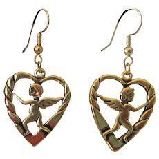 Vintage Rose Gold Over Sterling Silver Cherub in Hearts Dangle Earrings