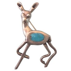 Charming Vintage Sterling and Turquoise Deer Brooch