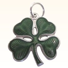Vintage Sterling Enamel Shamrock Four Leaf Clover Charm - Beautiful!