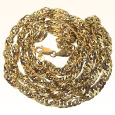 "Italian Gold Over Sterling Vermeil 30"" Necklace or Wide Chain"