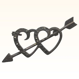 Sweet Vintage Sterling Double Hearts and Arrow Pin