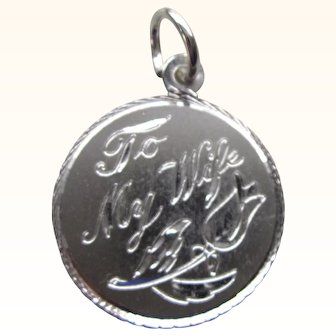 Romantic Sterling Silver Charm, To My Wife