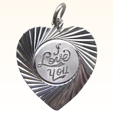 Romantic Sterling I Love You Heart Charm or Pendant